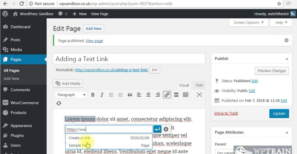 Adding a Text Link to WordPress